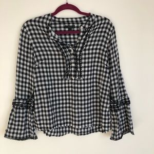 J Crew Embroidered Gingham Print Top